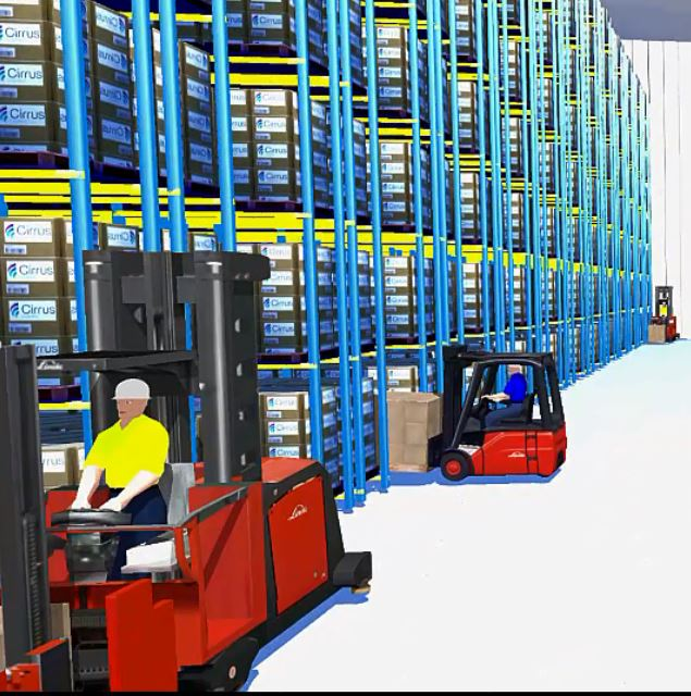 Racking with shadow in CLASS Warehouse Simulation Software